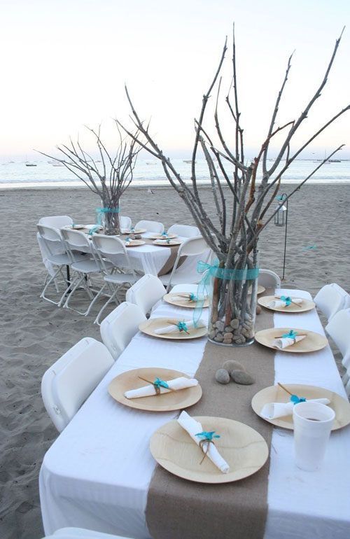 Beach branches rustic table setting