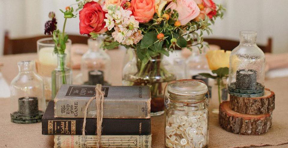 Books and flowers rustic table settings