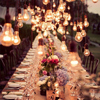 Lightbulbs rustic table setting