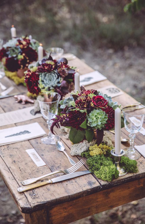 Succulents rustic table setting