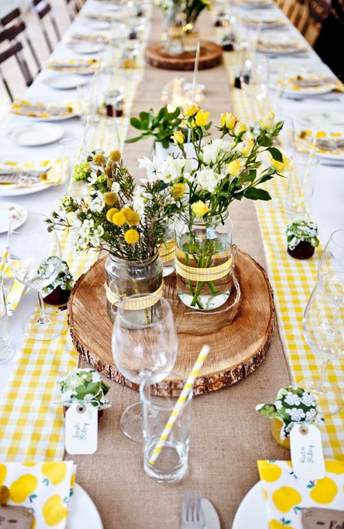 Yellow rustic table setting