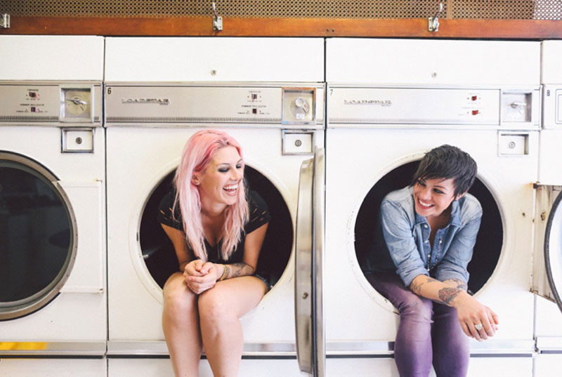 Laundromat engagement shoot