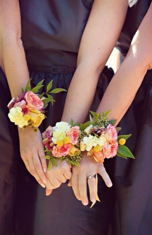Bridesmaid wrist corsages